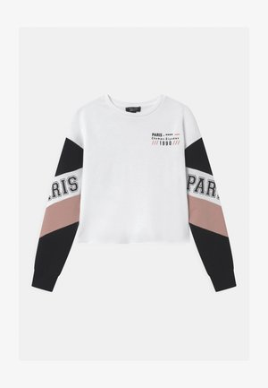 PARIS COLOURBLOCK RAW EDGE - Sweatshirt - white