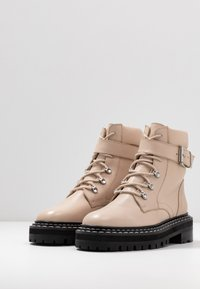 Even&Odd - LEATHER LACEUP BOOTIE - Cowboy/biker ankle boot - beige - 4