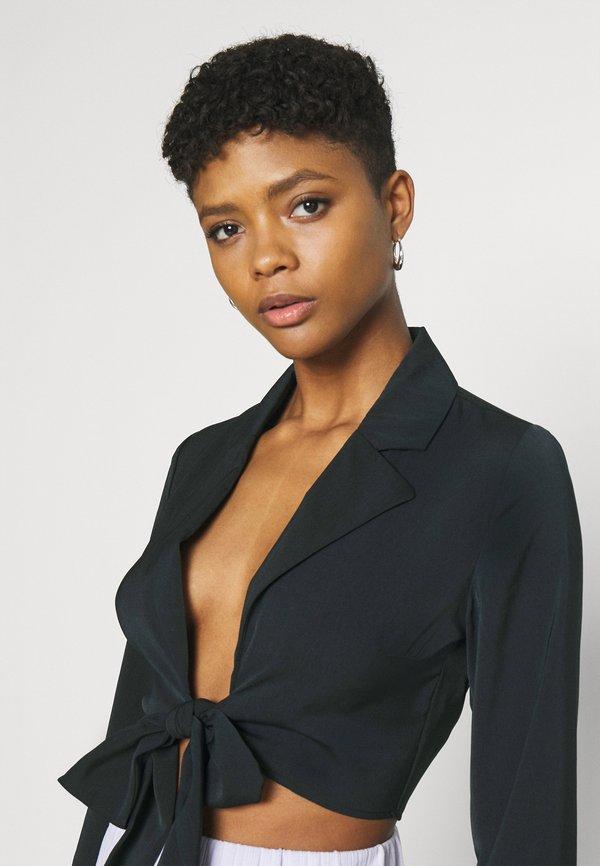 NA-KD FRONT TIE BLOUSE - Bluzka z długim rękawem - black/czarny NOXB