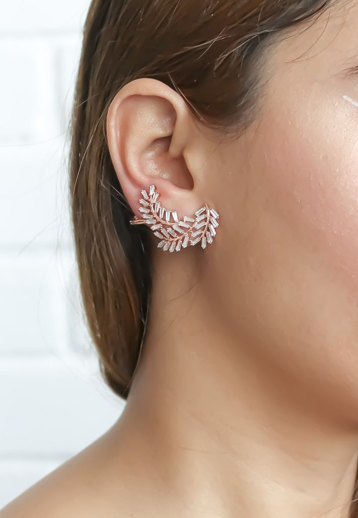 Bombay Sunset - LEAF CLIMBER - Earrings - rose gold-coloured