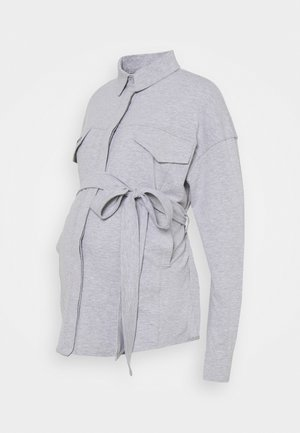 BELTED EMBROIDERED - Koszula - grey marl