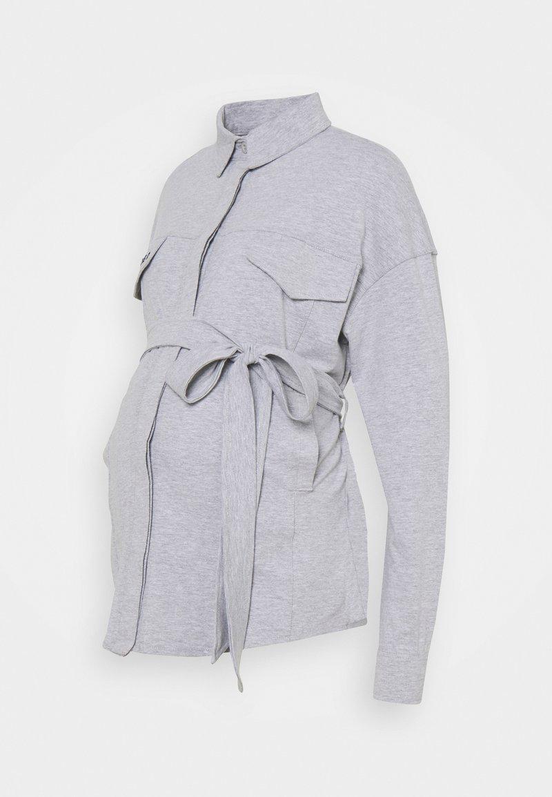 Missguided Maternity - BELTED EMBROIDERED - Košile - grey marl