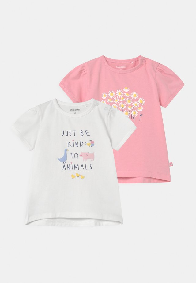 2 PACK - T-shirt con stampa - light pink/off white