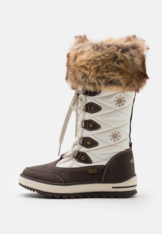 Winter boots - mokka/white