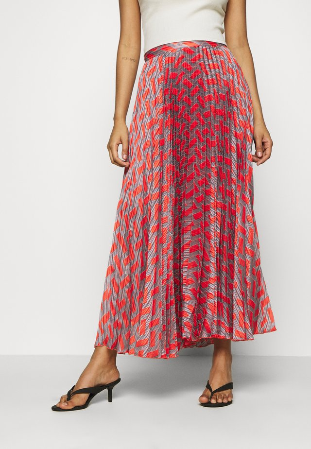 NESSA LONG SKIRT - Spódnica trapezowa - grey/orange