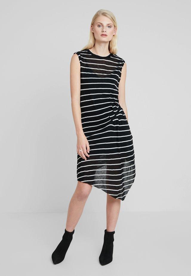 DUMA STRIPE DRESS - Denní šaty - black/chalk white