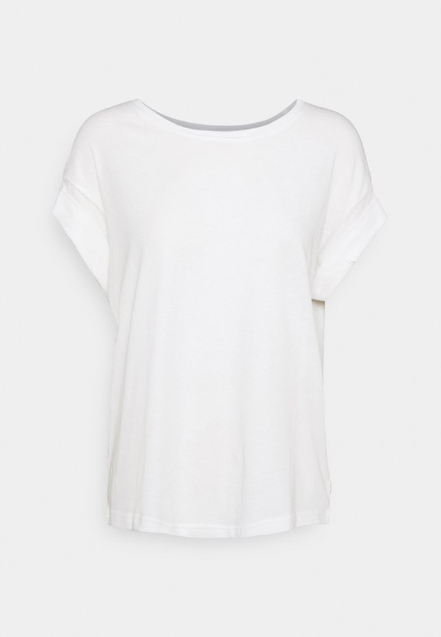 ROUNDNECK TURN UP SLEEVE - Basic T-shirt - scandinavian white