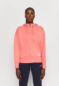 adidas Performance - Zip-up hoodie - coral - 0