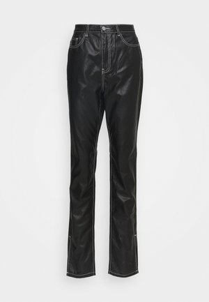 CONTRAST STITCH COATED WRATH - Straight leg jeans - black