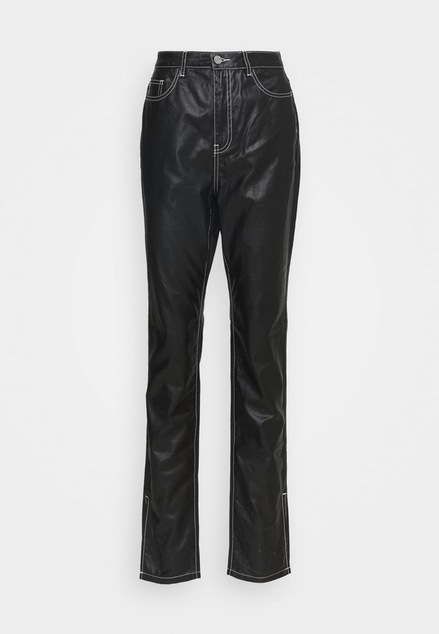 CONTRAST STITCH COATED WRATH - Straight leg -farkut - black