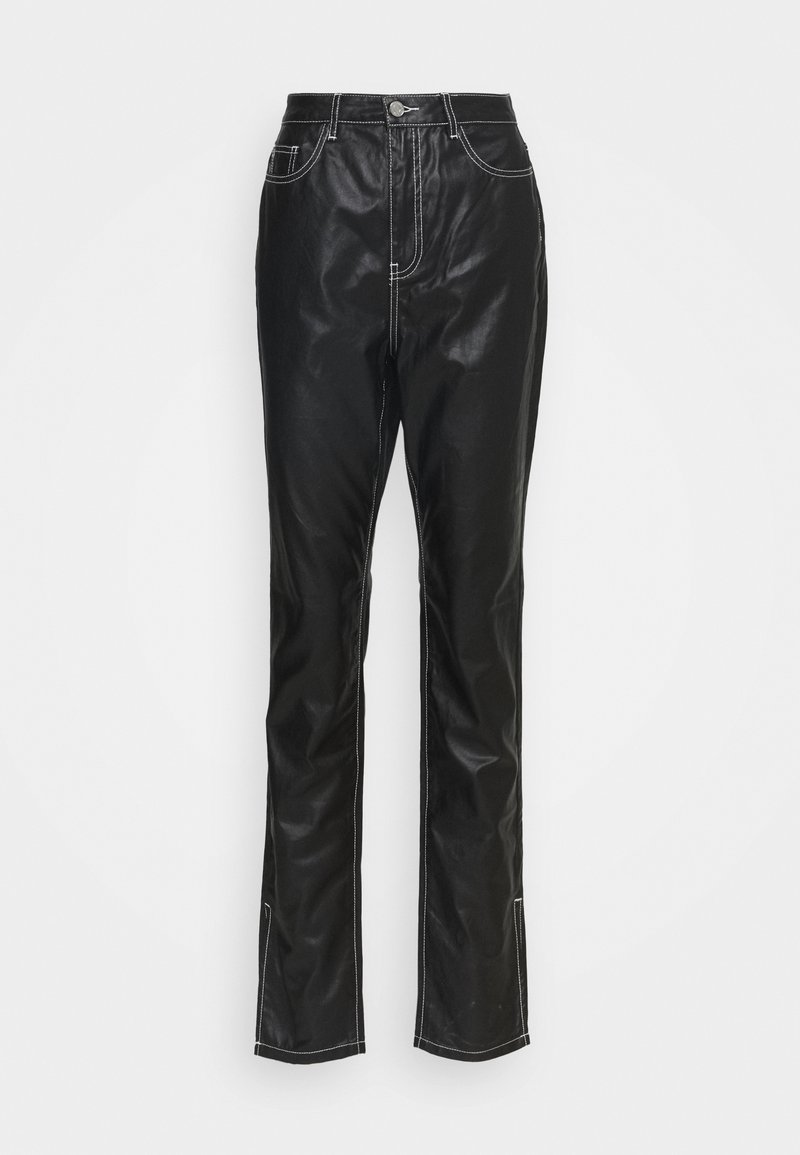 Missguided Tall - CONTRAST STITCH COATED WRATH - Straight leg jeans - black