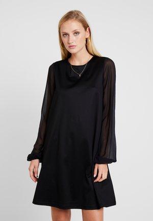 DRESS LONG SLEEVE STRAP DETAIL - Jersey dress - pure black