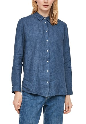 Button-down blouse - faded blue melange