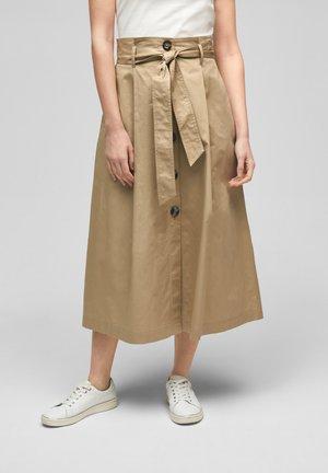 MIT BINDEGÜRTEL - A-line skirt - dusty beige
