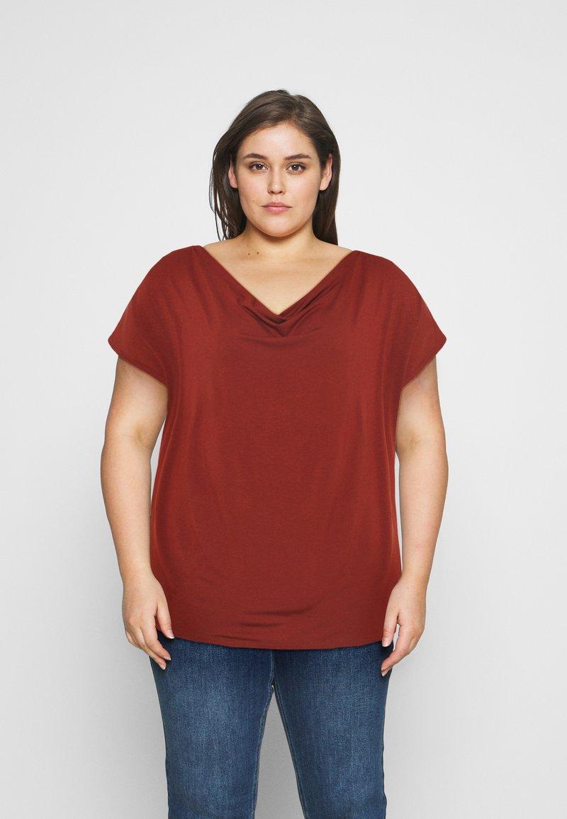 Anna Field Curvy - Print T-shirt - dark red