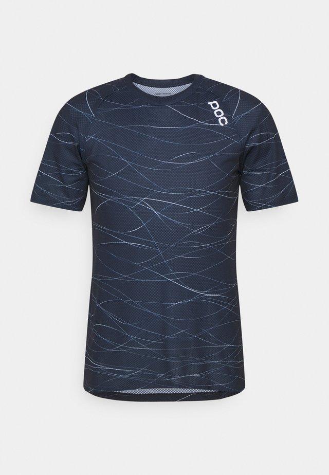 PURE TEE - T-shirt imprimé - lines turmaline navy