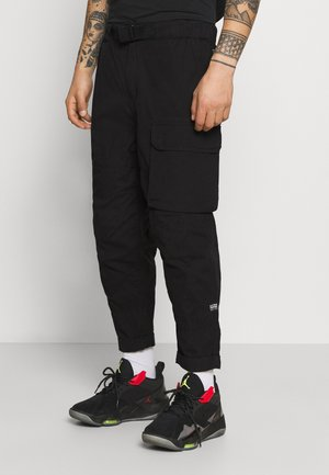 FRONT RELAXED TRAINER - Pantalones cargo - dark black