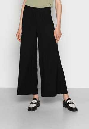 TEXTURED LIGHTWEIGHT PALAZZO PANT - Pantalon classique - black