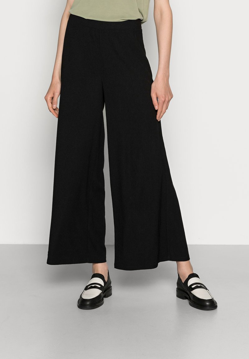 Anna Field - TEXTURED LIGHTWEIGHT PALAZZO PANT - Trousers - black