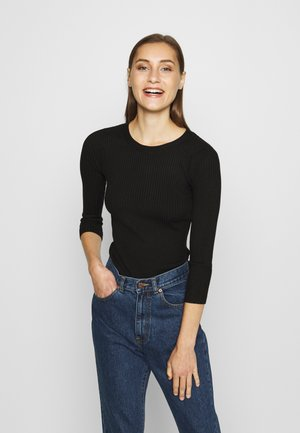 BASIC- rib 3/4 sleeve jumper - Jumper - black