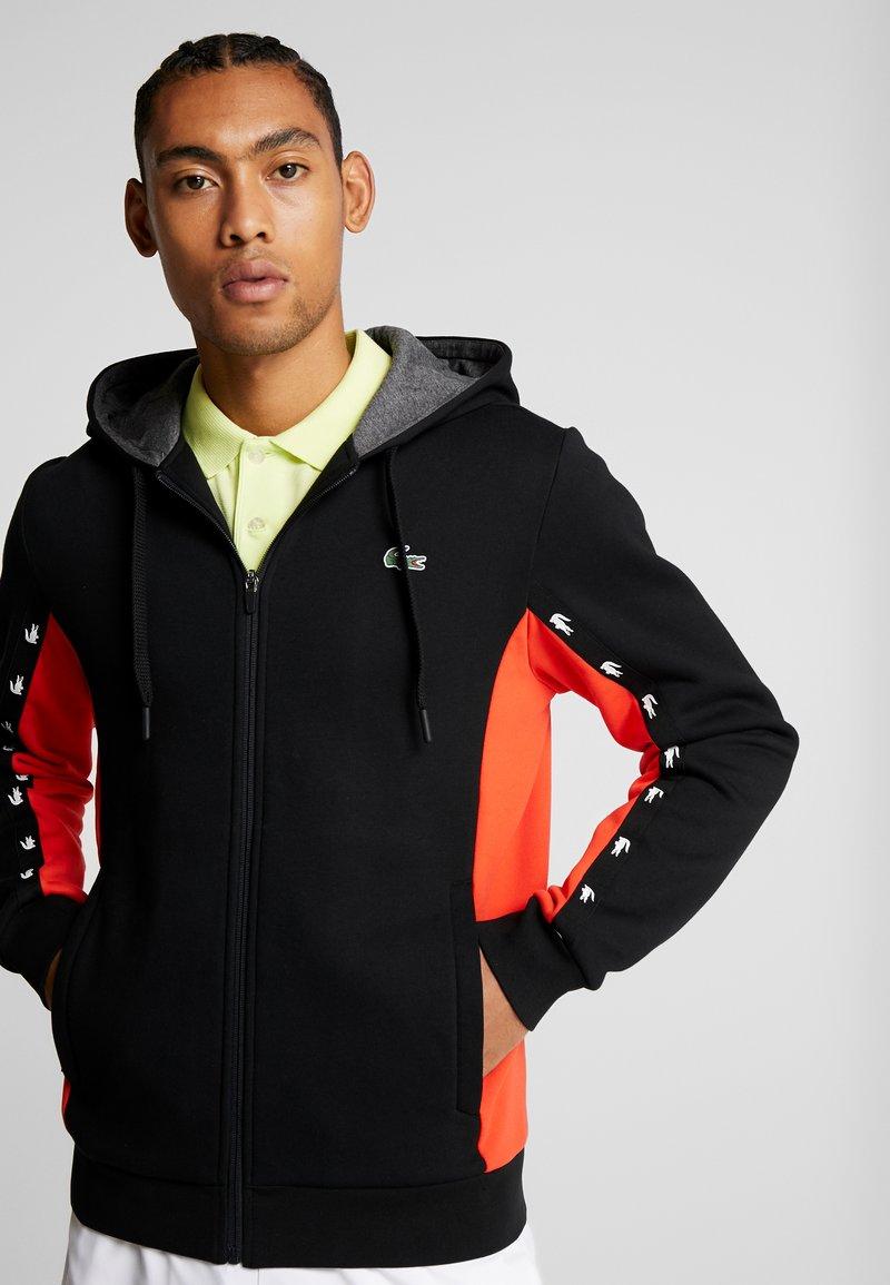 Lacoste Sport - veste en sweat zippée - black/corrida/pitch chine