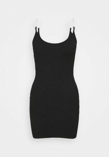 MINI DRESS - Strikket kjole - black
