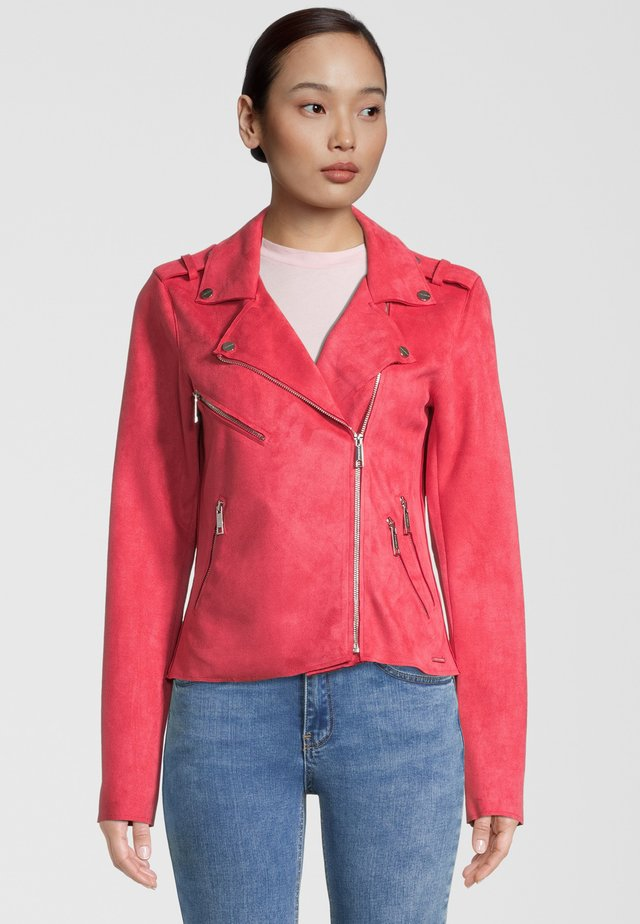 Faux leather jacket - teaberry