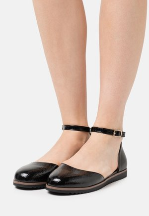 COMFORT - Ankle strap ballet pumps - black