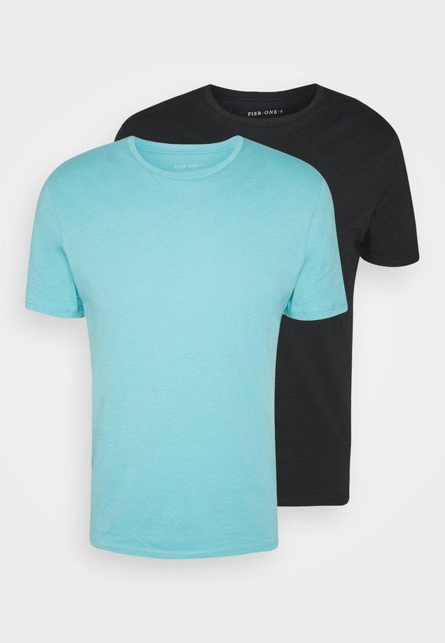 2 PACK - Basic T-shirt - light blue/black