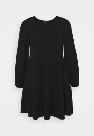 BRUSHED LOOPBACK PEPLUM DRESS - Jersey dress - black