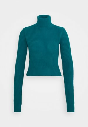 CROPPED JUMPER WITH ROLL NECK AND LONG SLEEVES - Trui - blue jade