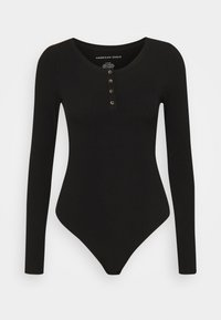 American Eagle - HENLEY BODYSUIT - Long sleeved top - true black - 0