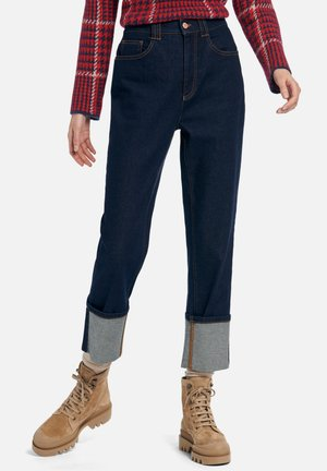 MIT UMSCHLAG - Straight leg jeans - dark blue denim