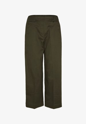 POPELINE - Trousers - dark khaki green