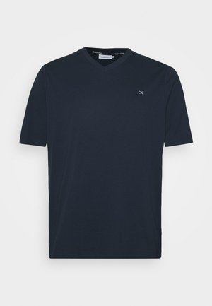 LOGO V NECK - Basic T-shirt - blue