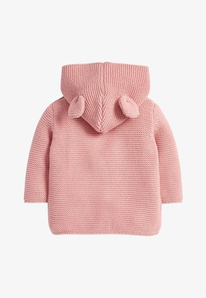 OATMEAL HOODED EAR CARDIGAN (0MTHS-3YRS) - Gilet - pink