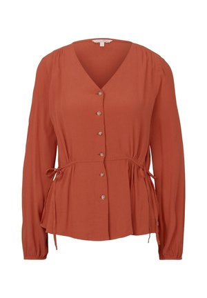 TOM TAILOR DENIM BLUSEN & SHIRTS BLUSE MIT TAILLEN-DETAIL - Blouse - fox orange