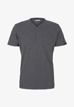 HENLEY  - T-shirt basic - dark grey grindle melange