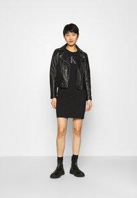 Calvin Klein Jeans - BONDED RACER BACK DRESS - Etuikleid - black - 1