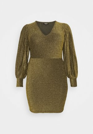 PLEAT SLEEVE BODYON DRESS - Koktejlové šaty / šaty na párty - gold-coloured