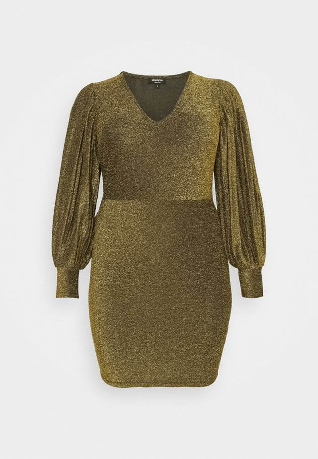 PLEAT SLEEVE BODYON DRESS - Cocktail dress / Party dress - gold-coloured