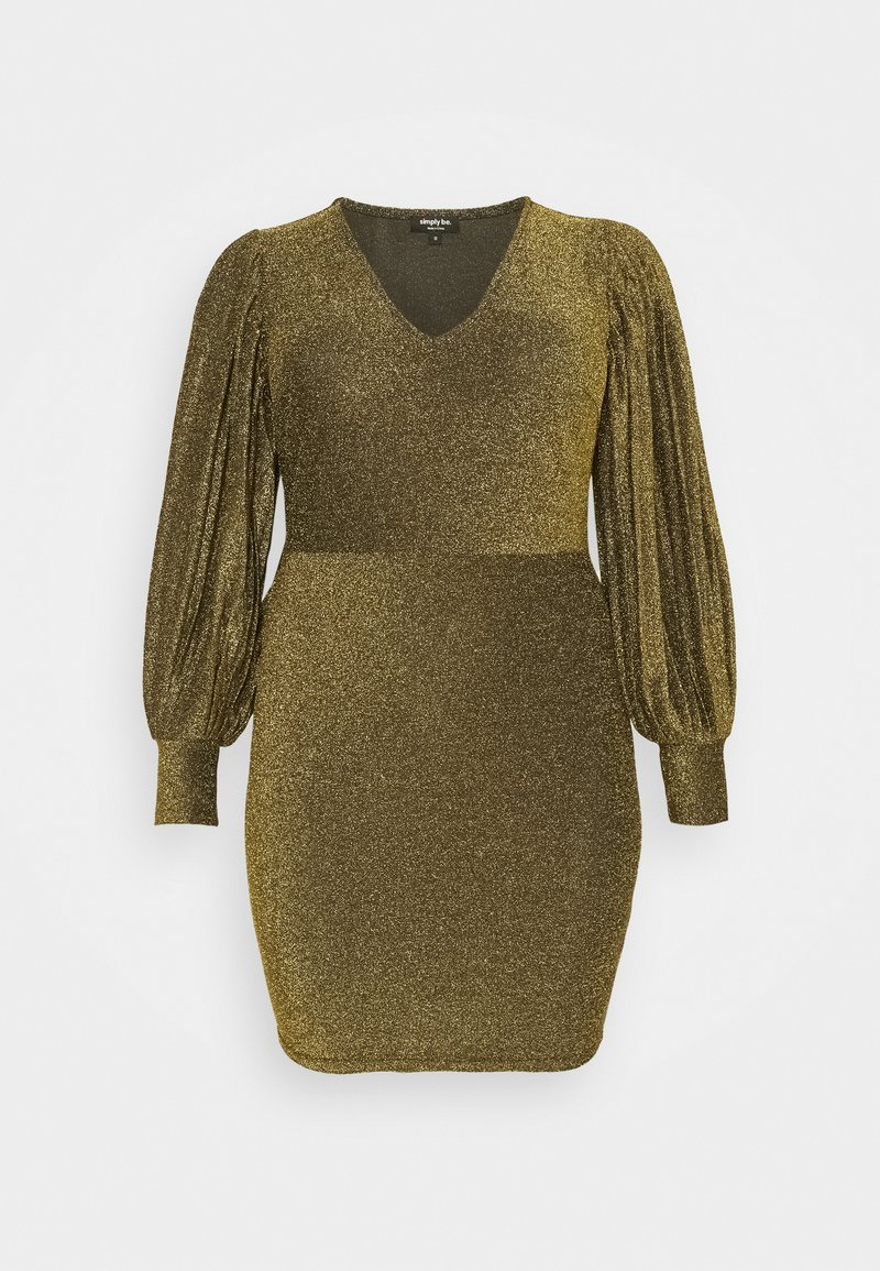 Simply Be - PLEAT SLEEVE BODYON DRESS - Cocktail dress / Party dress - gold-coloured