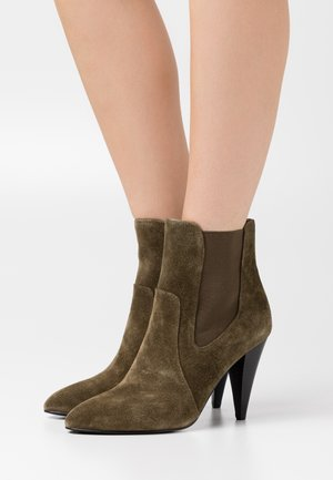 High heeled ankle boots - kaki