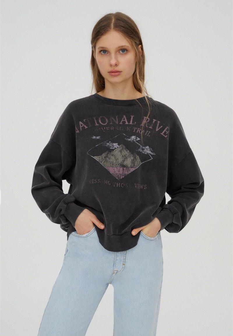 PULL&BEAR - Mikina - mottled dark grey