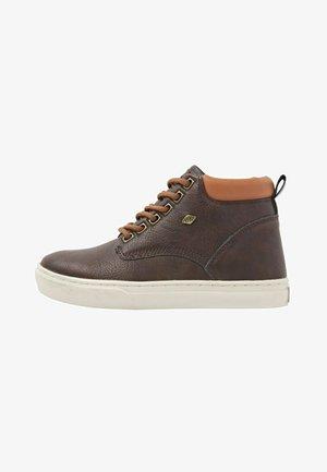 Sneakers hoog - dk brown/cognac