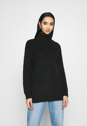 LONG LINE ROLL NECK - Jumper - black
