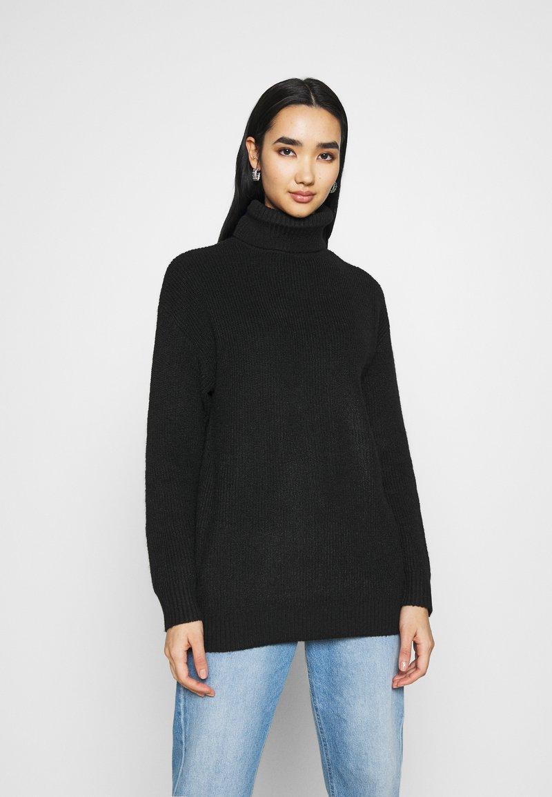 Even&Odd - LONG LINE ROLL NECK - Jersey de punto - black