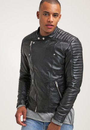 CROSSOVER - Leather jacket - black