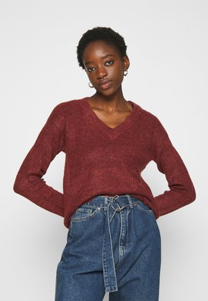 JDYGAMMY V-NECK - Pullover - russet brown/melange
