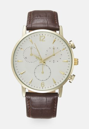 LEATHER - Orologio - dark brown/white